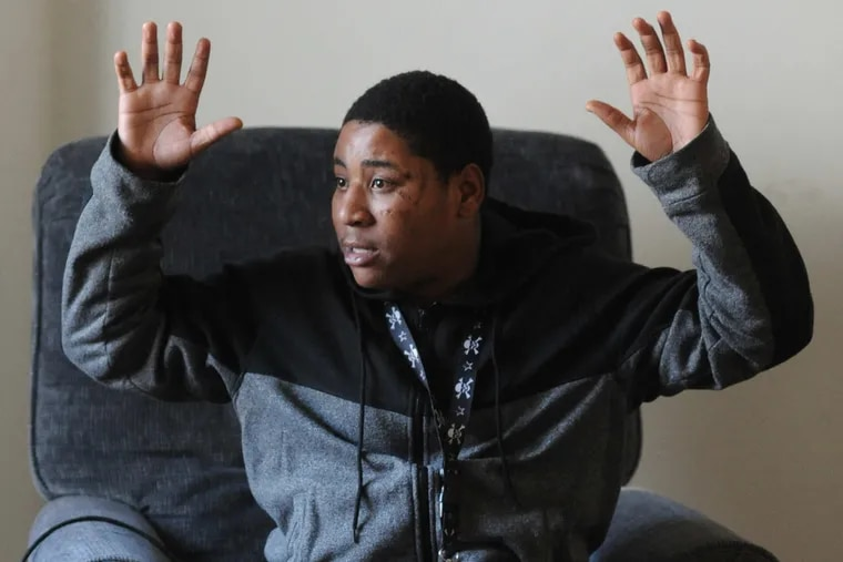 Timothy Stroye says he put his hands in the air as he was arrested in an incident that has led to hate crimes charges against former Bordentown Township Police Chief Frank Nucera Jr.