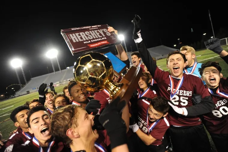 Conestoga players celebrate their 4-0 victory over Hempfield in the PIAA Class 4A Championship game Friday Nov. 17, 2017 in Hershey, Pa.