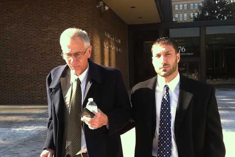 "Joseph ""Joe Vito"" Mastronardo Jr. and his son, Joseph F. Mastronardo leave the federal court building on 6th Street near Market on Friday, Jan. 31, 2014. (Julie Shaw / DAILY NEWS STAFF)"