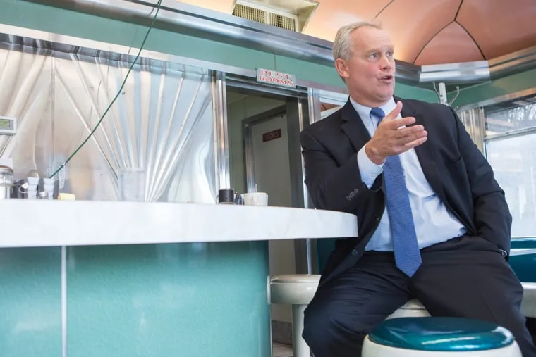 Mike Turzai, speaker of the Pennsylvania House, talks about his campaign for Pennsylvania governor at the American Dream Diner in Harrisburg Wednesday.