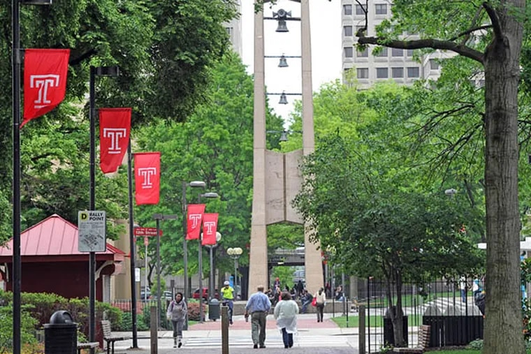 A Campus view of Temple University with the well-known bell tower in the background.