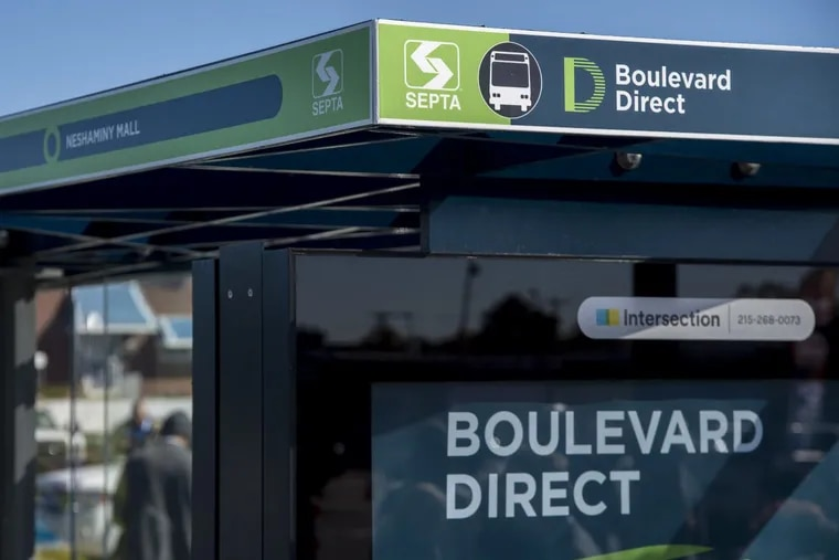 The new station, or bus stop, at Cottman Ave. and Roosevelt Blvd. for the newly announced Boulevard Direct bus route between the Frankford Terminal and Neshaminey Mall October 17, 2017. The new route reduces the number of stops from the Frankford Terminal to Neshimaney Mall from more than 80 to eight. CLEM MURRAY / Staff Photographer
