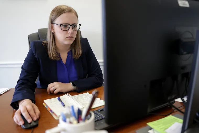 Pa. State Rep. Jennifer O'Mara working in her office in Springfield PA on May 31, 2019.