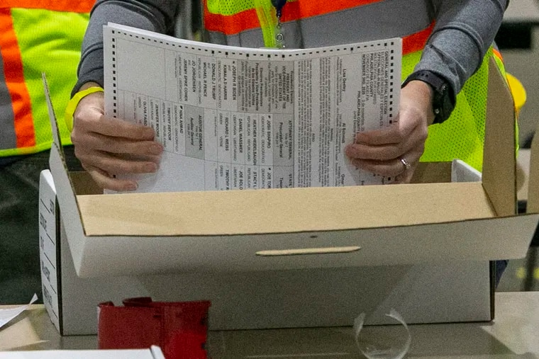 A worker prepares Philadelphia mail ballots for counting in the 2020 general election.