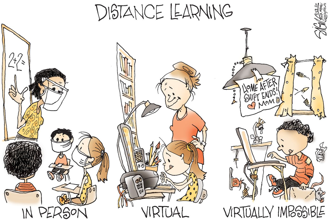 Political Cartoon: Virtually learning how to reopen schools