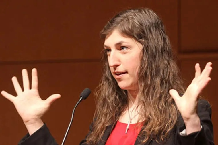 """Mayim Bialik, star of the '90s sitcom """"Blossom,"""" speaks at the National Museum of American Jewish History, as part of its celebration of the bat mitzvah. (Charles Fox / Staff Photographer)"""