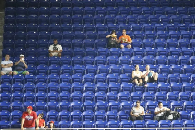 There were plenty of empty seats in the stands at Marlins Park in Miami Monday night during the first inning of a game between the Phillies and the Marlins.