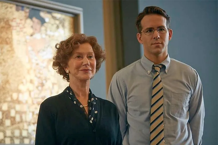 """Helen Mirren and Ryan Reynolds in """"Woman in Gold."""" Mirren stars in the film as Maria Altmann, a Holocaust survivor who battles the Austrian government, with the help of a lawyer played by Reynolds, to recover family artwork stolen by the Nazis. (Robert Viglasky / Weinstein Co.)"""