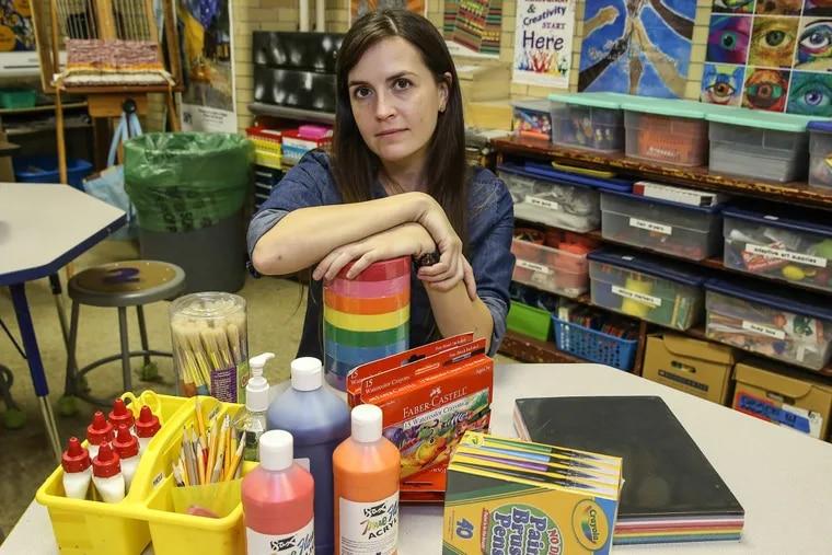 Nebinger elementary school art teacher Leslie Grace spends $3,000 annually out of her own pocket on supplies for her classroom.