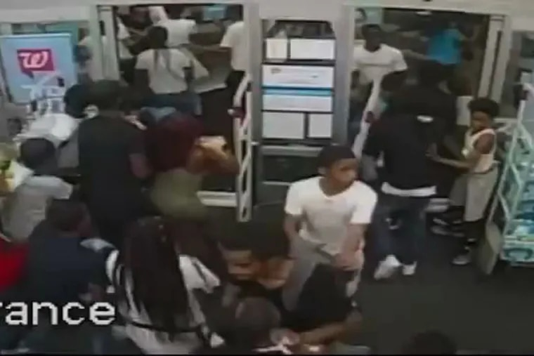 In a video released by Philadelphia Police, at about 10 P.M. on July 4th, 2019, a large group entered a Walgreens on South Street in Philadelphia. The group knocked items off the shelves, threw items at employees and left the store with unpaid merchandise.