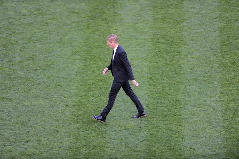 Philadelphia Union head coach Jim Curtin is seen in action during an MLS soccer match against Orlando City, Sunday, Oct. 22, 2017, in Chester, Pa. (AP Photo/Michael Perez)