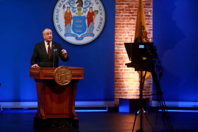 New Jersey Gov. Phil Murphy pre-records his 2021 State of the State address at the Trenton War Memorial.