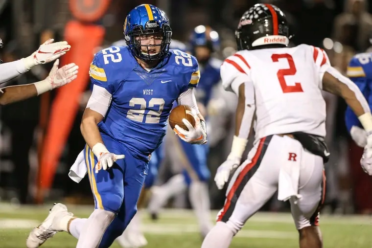 Downingtown West senior Sean Pelkisson (No. 22), a Georgia Southern recruit, is a top two-way player for the Whippets.