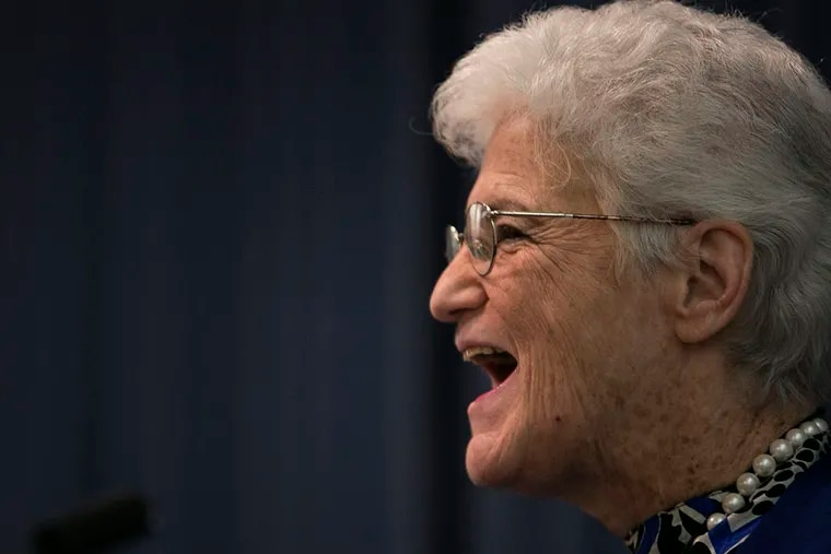 Lynne Abraham speaks during the mayoral forum at Pennsylvania Hospital in Philadelphia on Wednesday, March 19, 2015. ( STEPHANIE AARONSON / Staff Photographer )