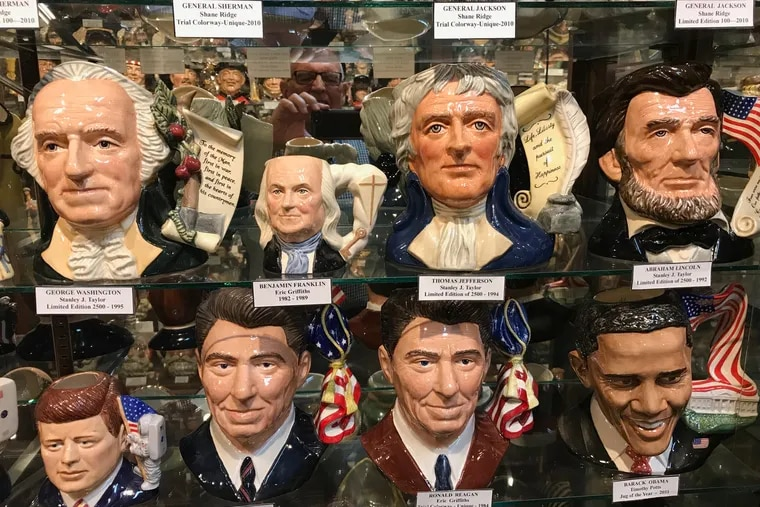 At the American Toby Jug Museum in Evanston, Ill., historical figures are part of  more than 8,000 items on display --  including presidents George Washington, Thomas Jefferson, Abraham Lincoln, John F. Kenndey, Ronald Reagan, and Barack Obama and also Benjamin Franklin.