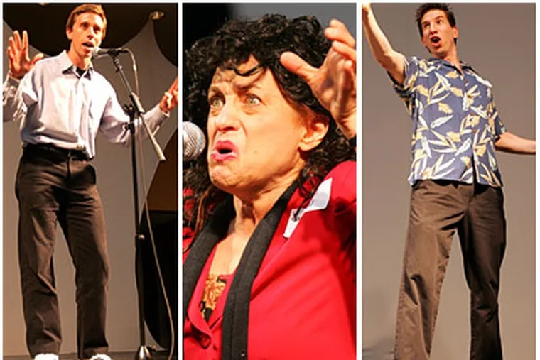 Jerry, Elaine and Kramer? No, it's Ben Carter, Sharon Geller and Aaron Unice, performing impressions in the Seinfeldian tradition at the Kimmel Center. (David Swanson/Staff Photographer)