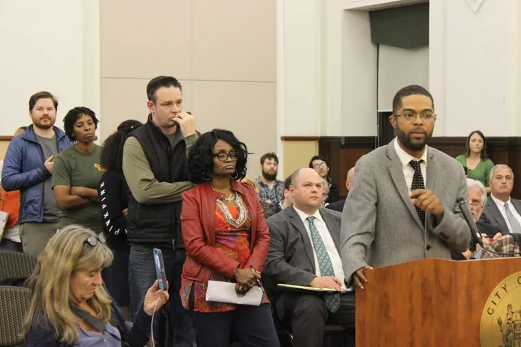Dozens of residents expressed concerns over the relocation of a controversial methadone clinic into Camden's Waterfront South neighborhood. From left to right: residents Sean Brown, Tammy Goree, Patrick Duff, Tracy Wilkins, and Michael Zier.
