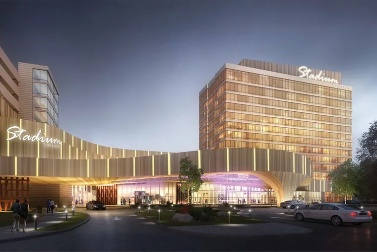 Newest rendering of Stadium Casino L.L.C.'s Live! casino and hotel planned for South Philadelphia. Stadium won the second casino license in Philadelphia, but has been stymied in court.