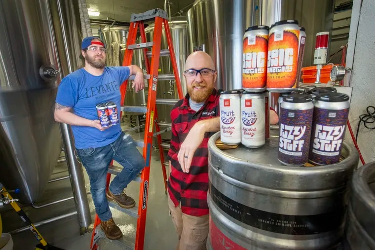 Levante Brewing Co., based in West Chester, is using Philly Sour yeasted to make its popular fruited sour beers instead of the traditional kettle-souring process, according to Joel Sprick, Levante's quality manager, right, shown here with Levante's production manager, Matt Gilberg.