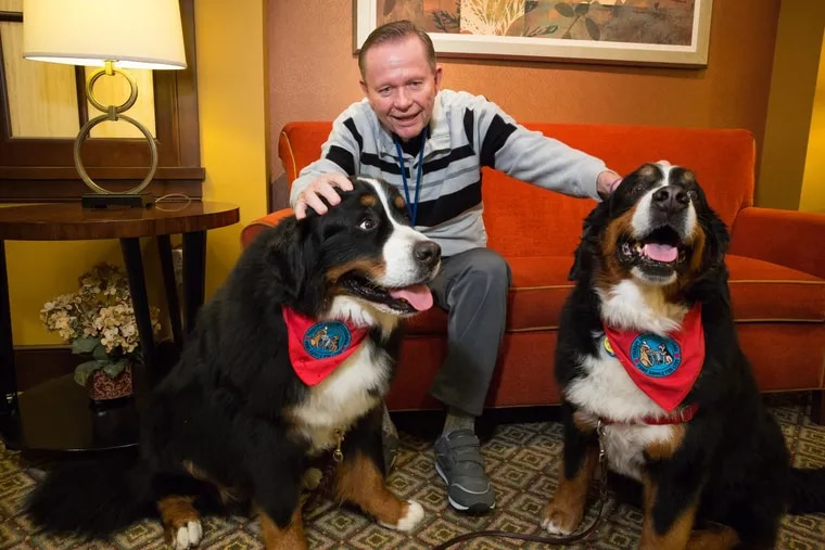 Bill Lyon makes nice with comfort dogs Harvey (left) and Darla.