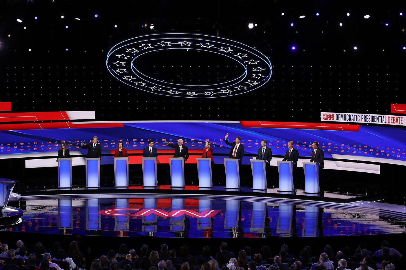 Democratic debate recap: Philly mass shooting noted in gun violence question, CNN trailer mocked