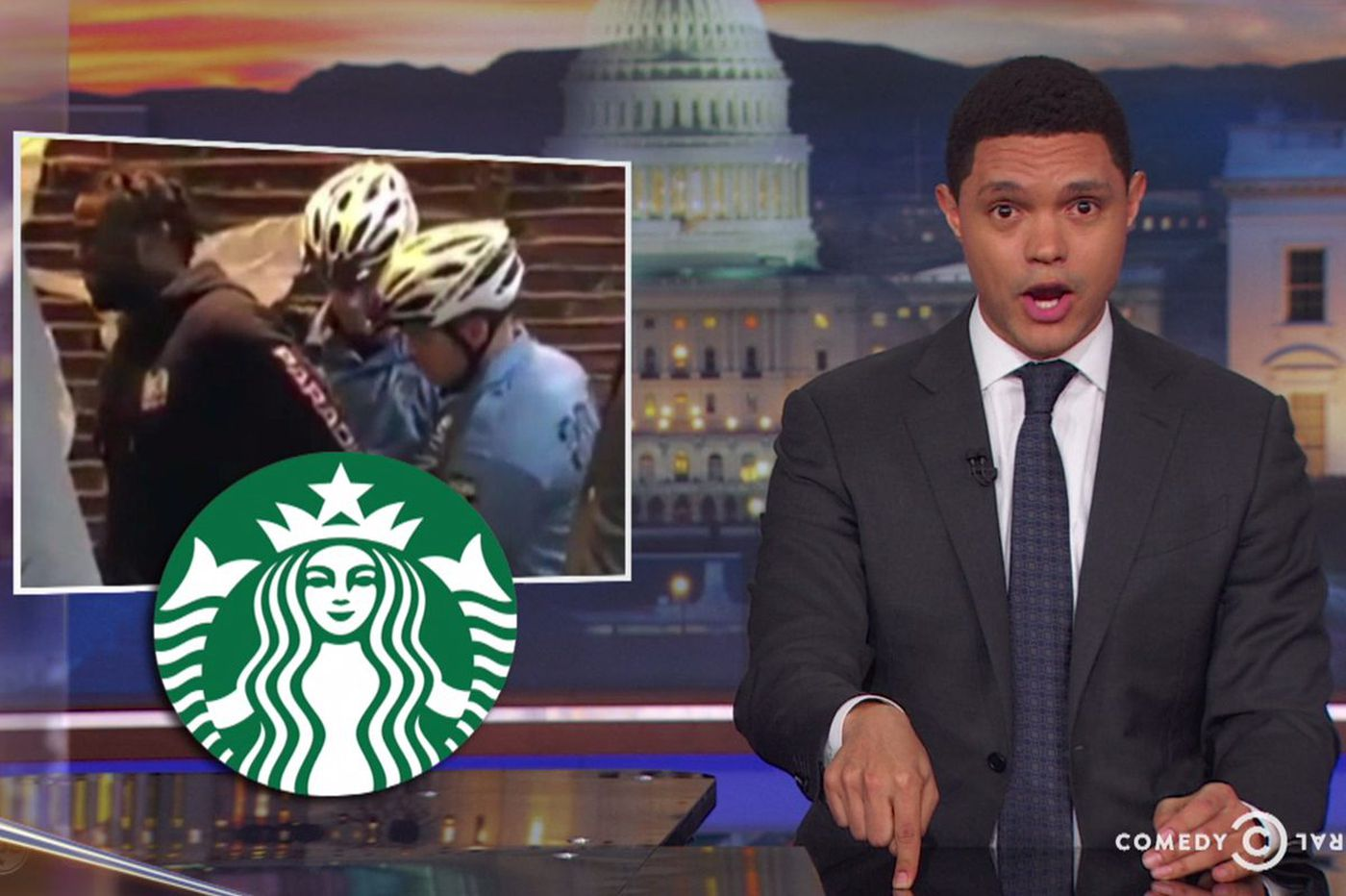 Trevor Noah is the only late-night comedian taking on the Starbucks arrest controversy