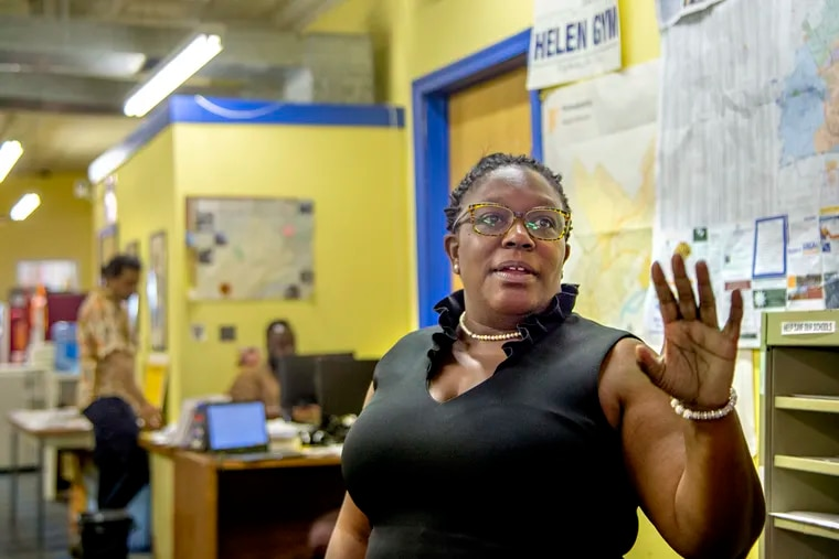 Kendra Brooks, a Working Families Party candidate for City Council, at her campaign offices. Brooks raised more money than any third-party candidate before and has received major endorsements from Helen Gym, Elizabeth Warren, and others.