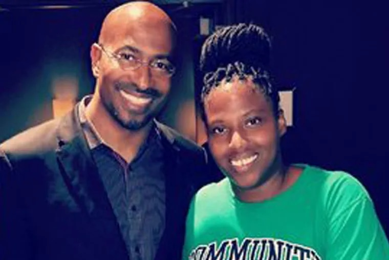 """Van Jones with Mary Baxter at the """"We Rise"""" tour in Philadelphia on Aug. 3."""