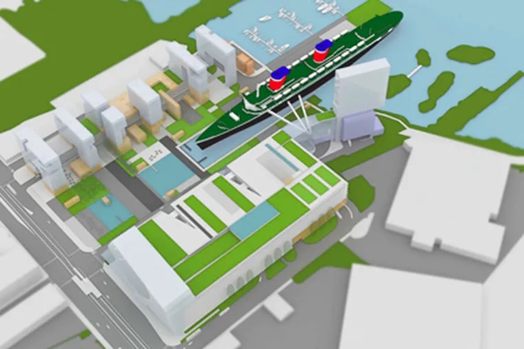 If a casino is located on the waterfront, a mixed-development proposal that incorporates the mothballed SS United States has merit. (Stephen Varenhorst Architects)