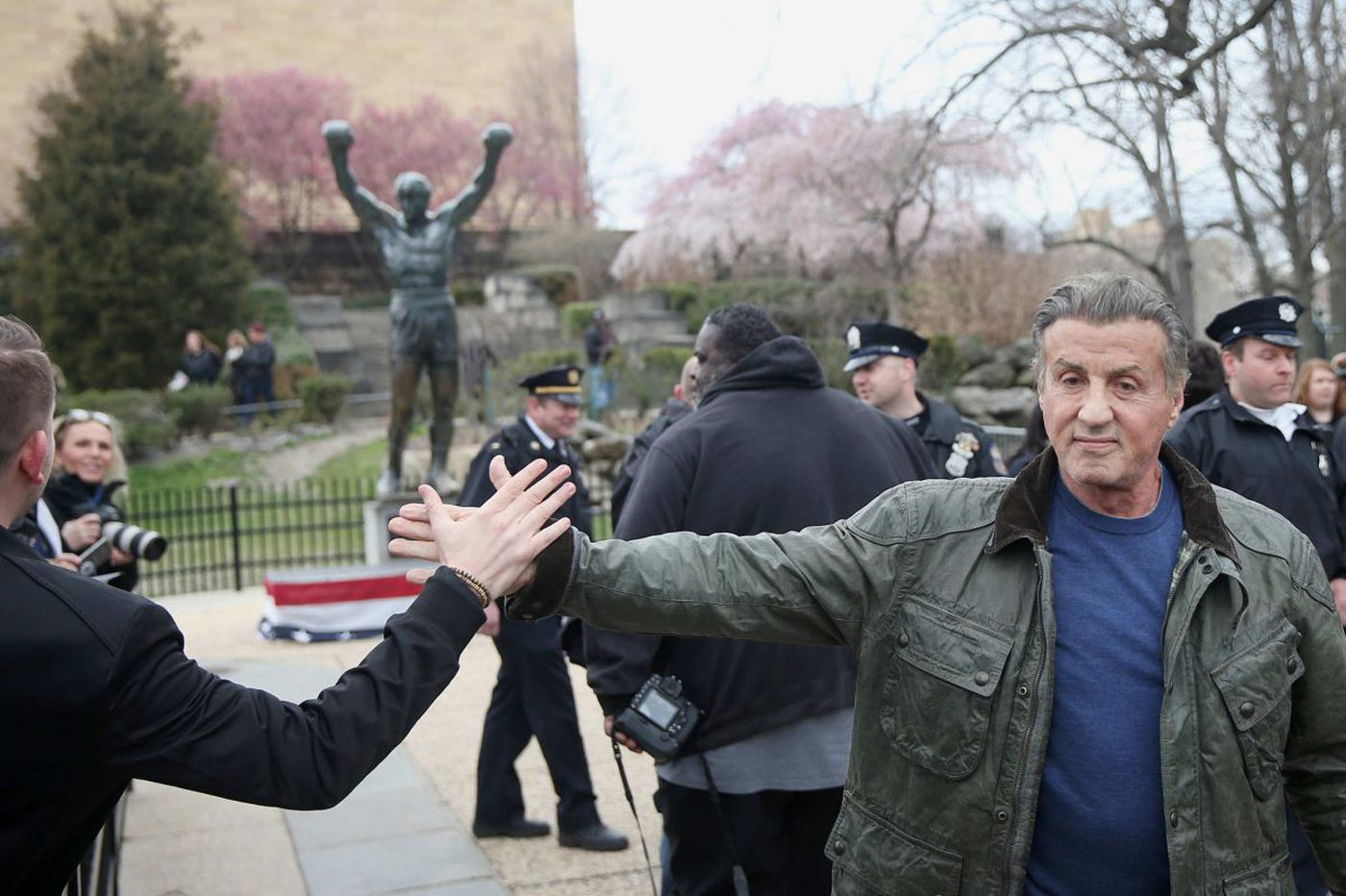 Sylvester Stallone makes surprise appearance at Rocky statue