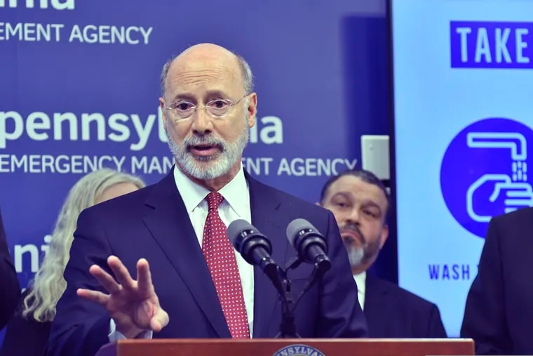 Gov. Tom Wolf of Pennsylvania spoke Thursday at a new conference at Pennsylvania Emergency Management Headquarters, where he said he was ordering schools and other large gathering places to close in Montgomery County, which has the largest number of coronavirus cases.