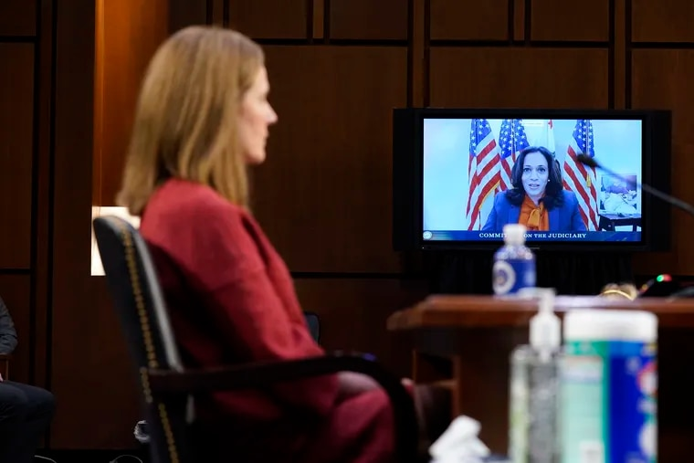Democratic vice presidential candidate Sen. Kamala Harris (D., Calif) speaks virtually during an Oct. 13 confirmation hearing for Supreme Court nominee Amy Coney Barrett before the Senate Judiciary Committee. Harris asked Barrett about climate change.