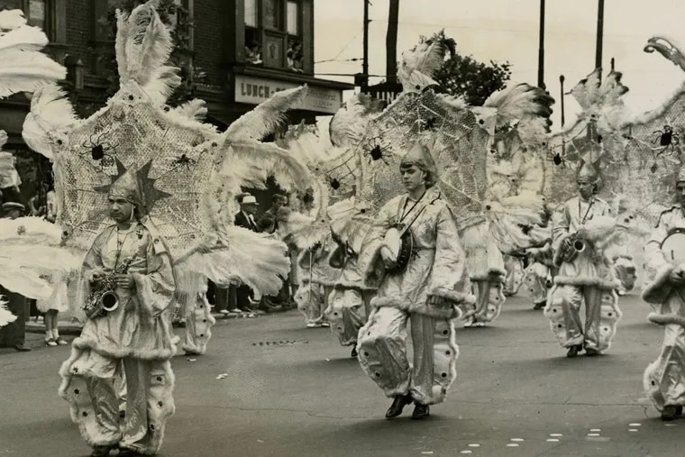 What Philadelphia recognizes as Mummers in the modern era began taking shape throughout the 19th century, as the many traditions of Philadelphia's neighborhoods contributed to larger, public celebrations of the city's working-class communities. Pictured here: Mummers Woodland String Band in 1937.