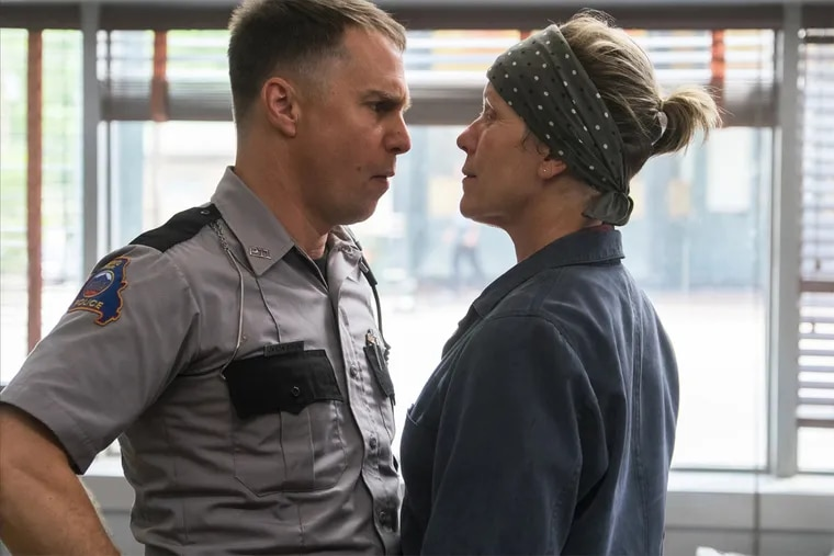 """Sam Rockwell and Frances McDormand face of in """"Three Billboards Outside Ebbing, Missouri."""""""