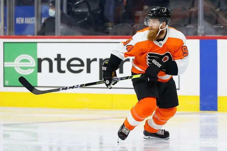 Flyers defenseman Ryan Ellis skates against the Boston Bruins in a preseason game on Monday, October 4, 2021 in Philadelphia.