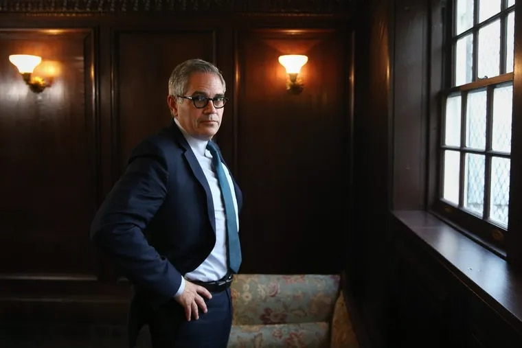 Newly elected Philadelphia District Attorney Larry Krasner stands for a portrait at his law office on South Camac Street on Thursday, Nov. 30, 2017.