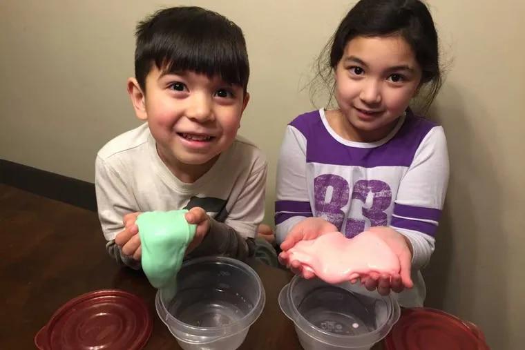 Linda Vertlieb of Philadelphia says slime is low-cost fun for her children Alex, 4, and Sophia, 9