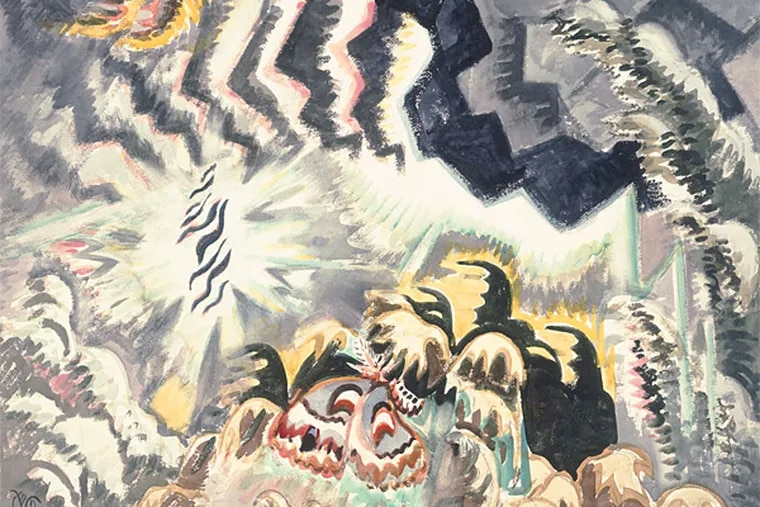 """Charles Burchfield, """"The Moth and the Thunderclap,"""" 1961, shocking and violent. A painting like this one distills not just the art of 1961, but midcentury American culture at large. (Burchfield Penney Art Center)"""