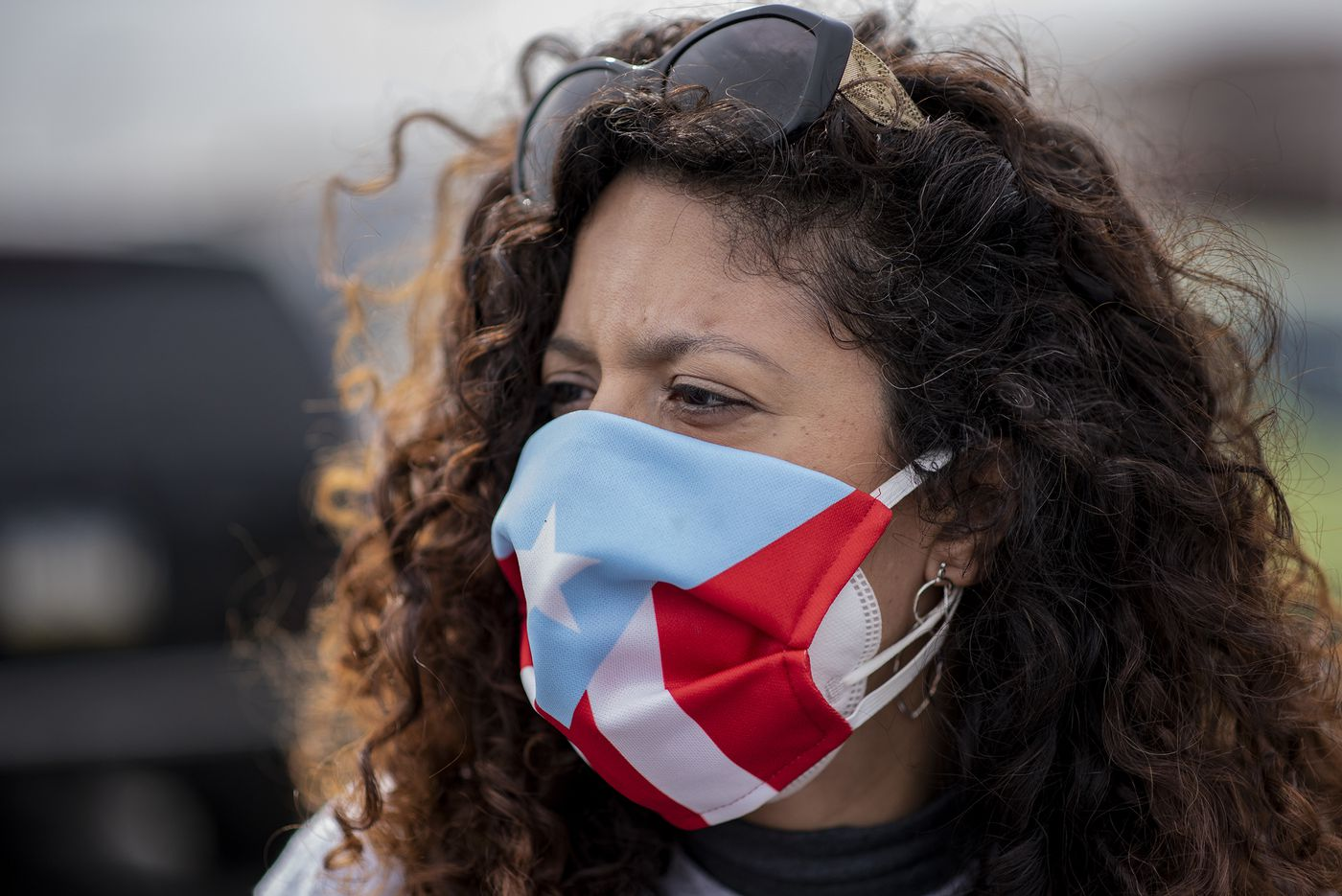 Erica Gonzalez, of Power with Puerto Rico, at a get-out-the-vote event in Philadelphia.