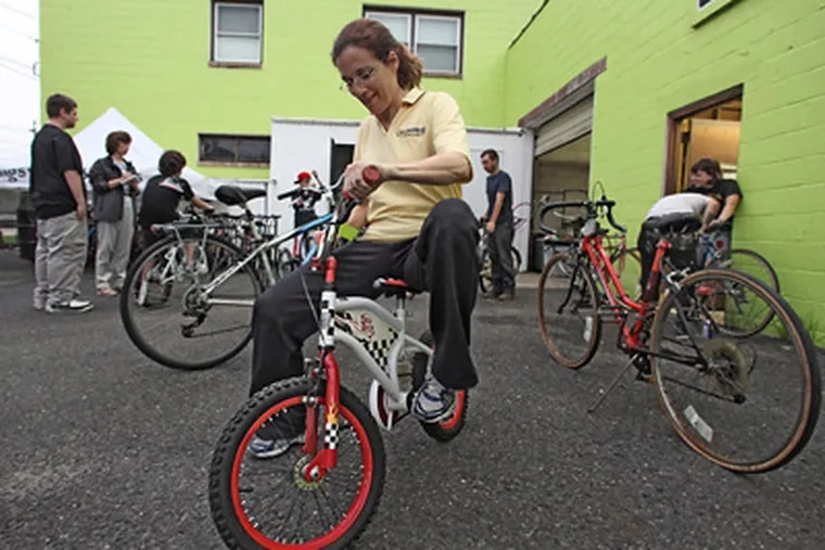 Joan Leonard, a Collingswood commissioner, persuaded the Police Department to donate about 50 unclaimed bicycles. (DavidI M Warren / Staff Photographer)