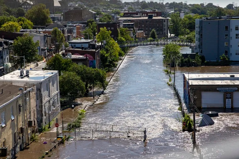 Overhead view of Manayunk Canal as seen from Manayunk Bridge on Thursday.