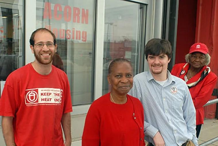 From the left, ACORN head organizer Neil Herrmann, legislative director Ian Phillips, West Oak Lane organizers Junette Marcano and Miriam McKnight. (Ron Tarver / Staff Photographer)