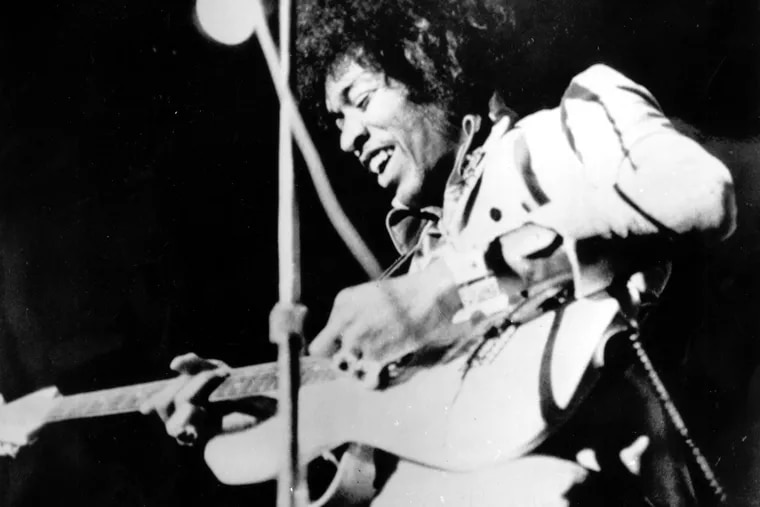 This is a 1970 photo of rock and roll guitarist Jimi Hendrix at an unknown location.