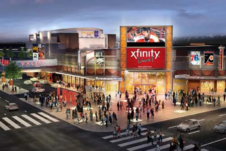 Artist's rendering of the new Xfinity Live! entertainment complex as seen from the street.