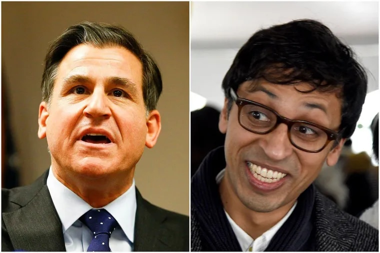 State Sen. Larry Farnese, left, has been defeated by writer and community organizer Nikil Saval.
