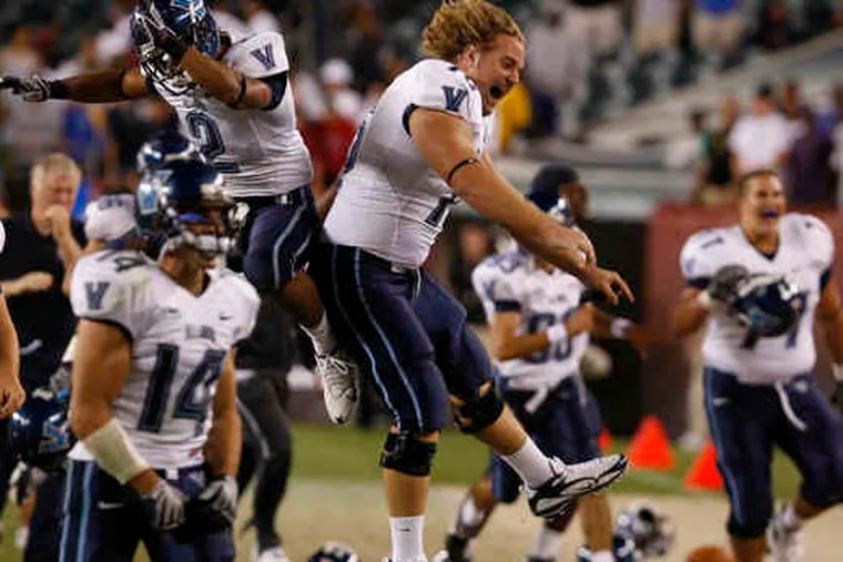 Let the celebration begin. Villanova players jump for joy after Nick Yako's game-winning 32-yard field goal late in the contest.
