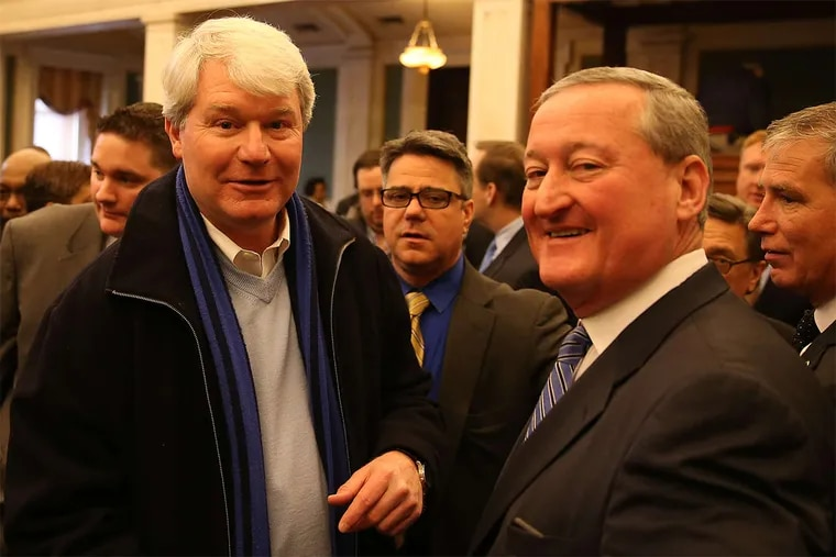 John J. Dougherty (left) has been a big supporter of Mayor Kenney. The mayor has said he does not believe he is a probe target.