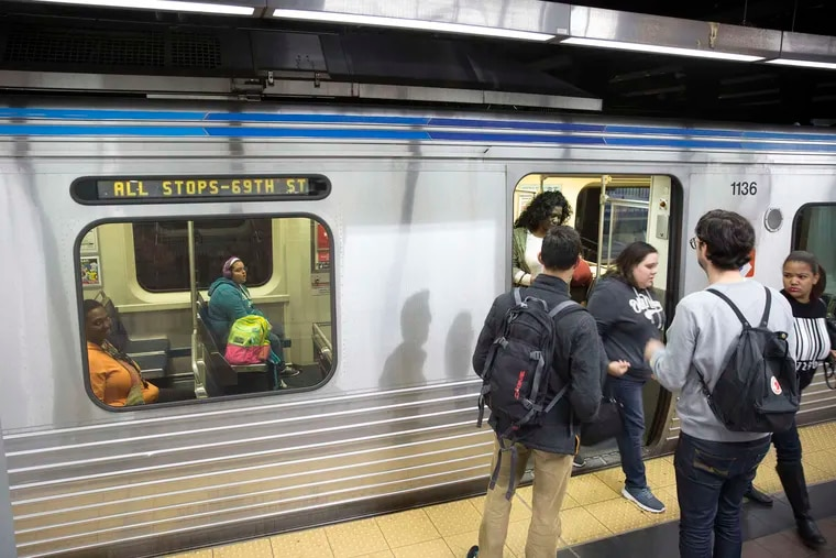 A SEPTA Market-Frankford Line subway train running again at Eighth and Market Streets. SEPTA is planning to end skip-stop service on the line beginning in February.
