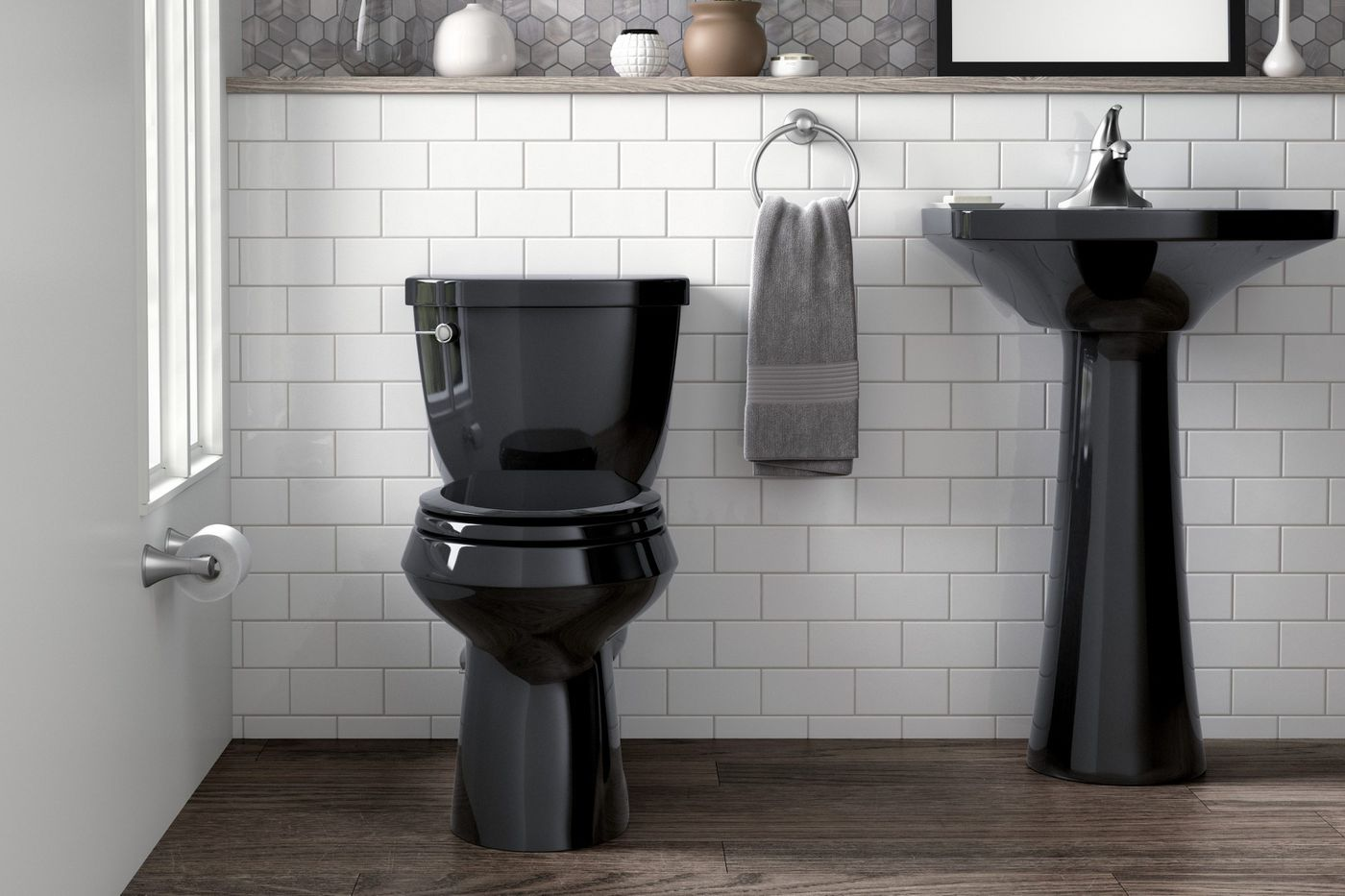 A black toilet? This unconventional choice is a bathroom trend