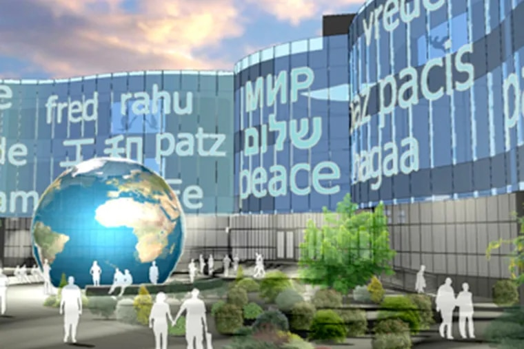 A design concept for the Envision Peace Museum, which Tony Junker hopes to land near Independence Mall or along the Benjamin Franklin Parkway.